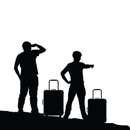 A man silhouette with travel bag set illustration