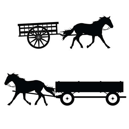horse with carriage vector silhouette on white background