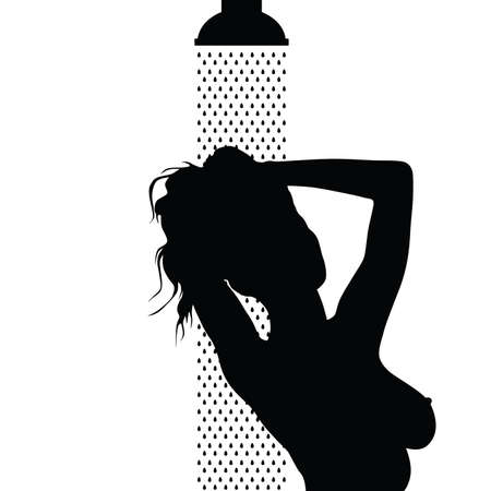 Girl is showering vector silhouette in black color.
