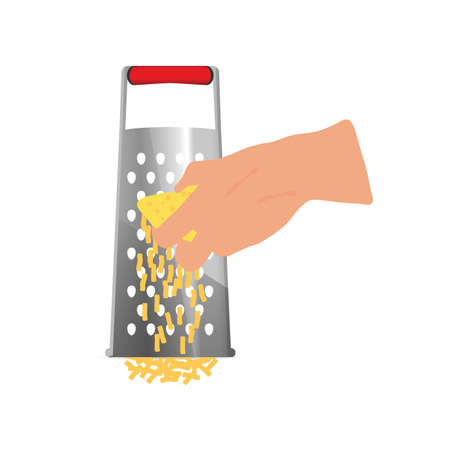 A grater tool with woman hand art illustration  イラスト・ベクター素材