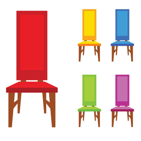 Chair old model in different color vector illustration.