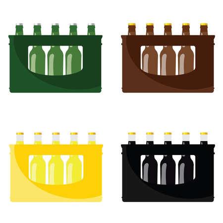 Bière dans la caisse illustration vectorielle en quatre couleurs de bouteille de bière Banque d'images - 101022585