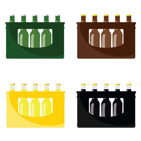 Beer in crate vector illustration in four colors of beer bottle