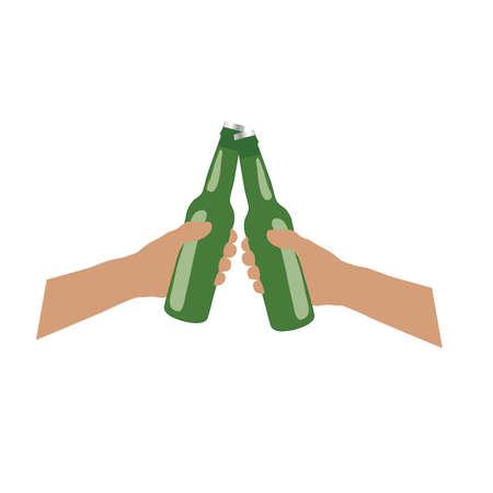 bottle of beer in hands cheers art illustration 向量圖像