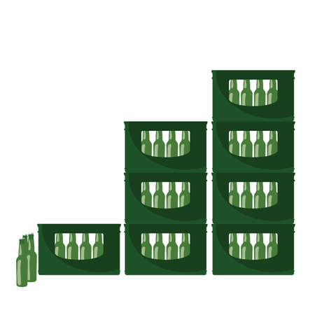 Beer in green crate illustration on white background.