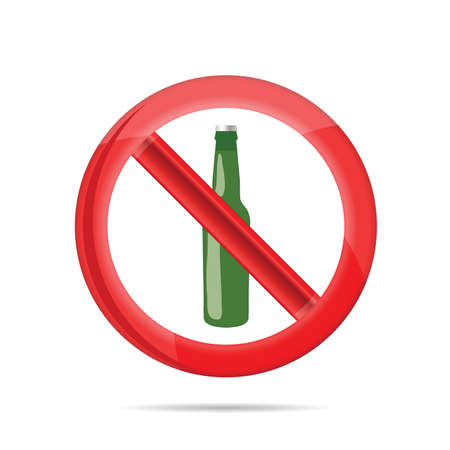 no alcohol sign with green beer bottle on white