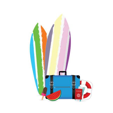 summer item icon set illustration