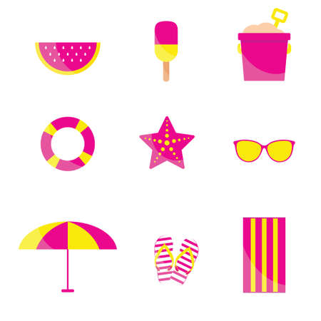 beach items in pink and yellow color illustration on white