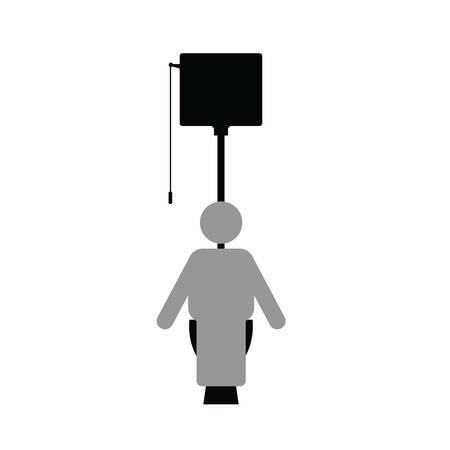 man icon on toilet art illustration