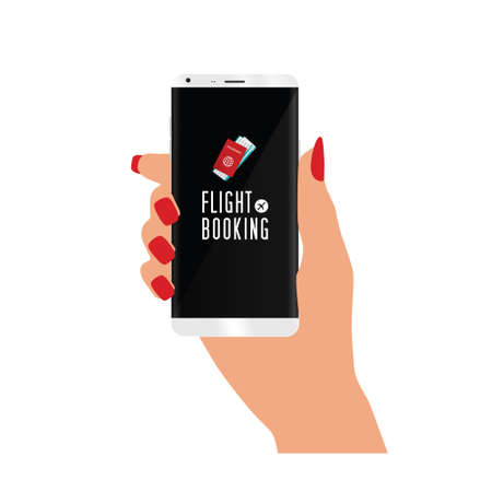 smart phone in woman hand with flight booking icon Иллюстрация