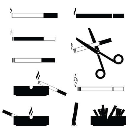 cigarettes and ashtrays vector symbol black and white illustration