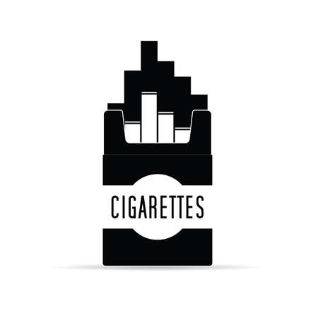 cigarettes pack box in black and white vector illustration Ilustração