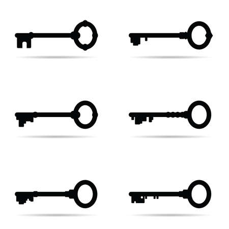 key vector six icon in old version on white background Vectores