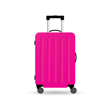 travel suitcase in pink color with wheels vector illustration