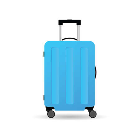travel suitcase in blue color with wheels vector illustration