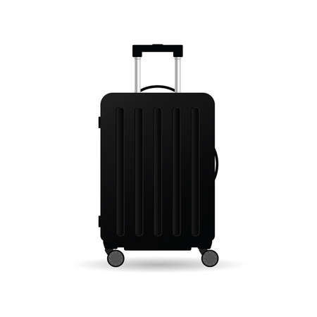 travel suitcase in black color with wheels vector illustration