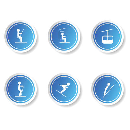 ski icon button blue set illustration