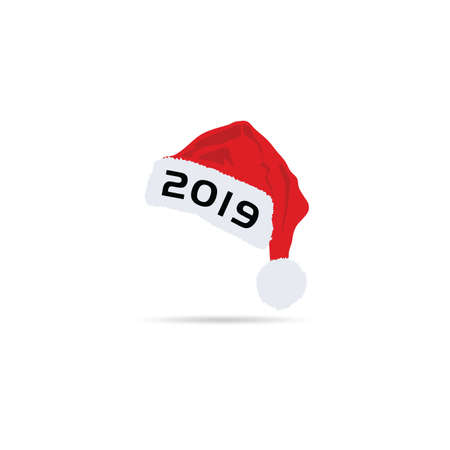 happy new year hat 2019 illustration in red color Illusztráció