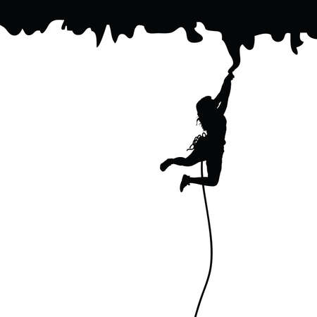 woman black silhouette on cliff llustration