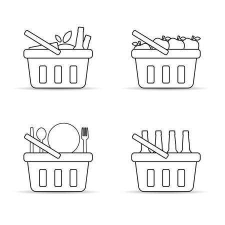 shopping basket line set illustration on white