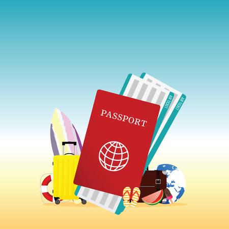 travel summer illustration with red passport