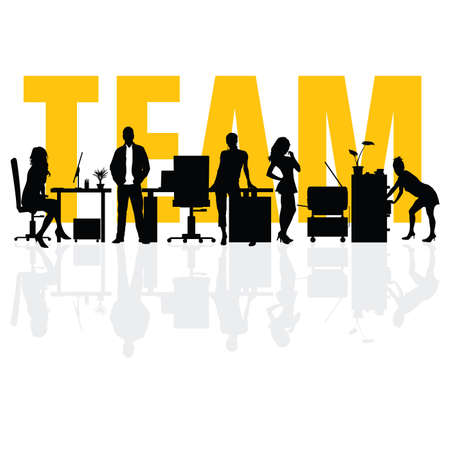 business team people silhouette art illustration Ilustração