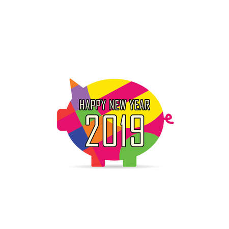 New Year Chinese 2019 of the pig vector illustration art in colorful