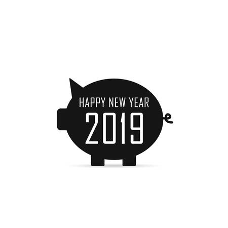 New Year Chinese 2019 of the pig vector illustration art in black color