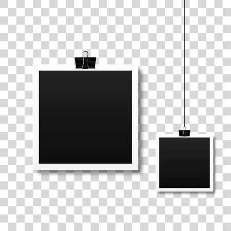 paper clip holding photo frame set  illustration