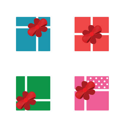 gift box with red bow vector illustration Standard-Bild - 126397970