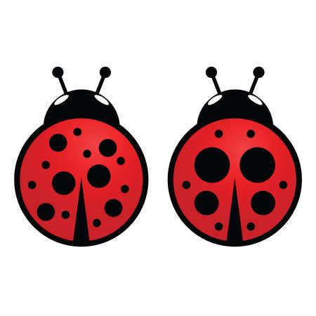 ladybug icon in red vector illustration set one Standard-Bild - 126397971