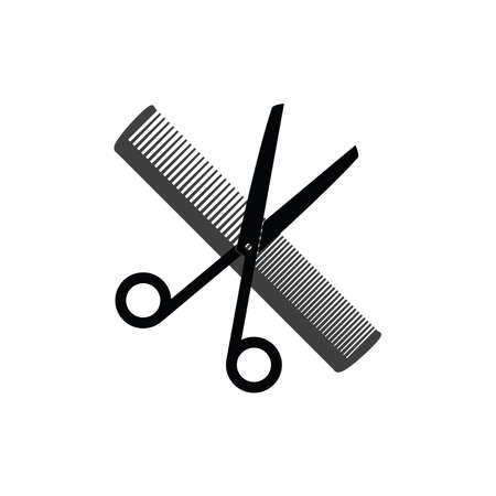 scissors and comb icon for hair salon vector