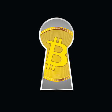 crypto currency behind the door vector illustration Illustration