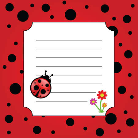 ladybug with white frame vector and flowers