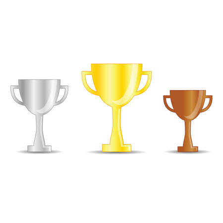 gold, silver and bronze trophy cup vector illustration