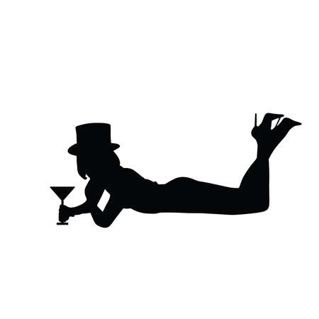 girl silhouette with a glass of wine posing Иллюстрация