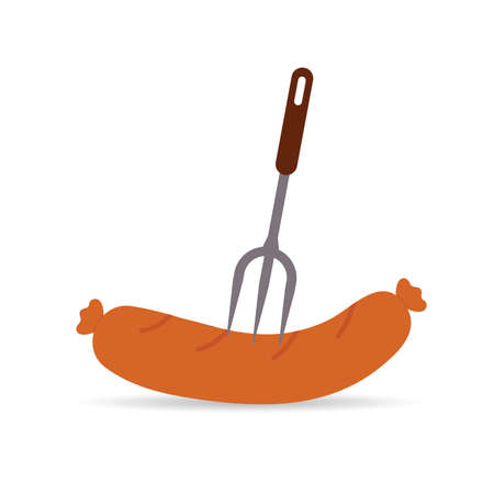 sausage and fork vector ilustration on white Иллюстрация