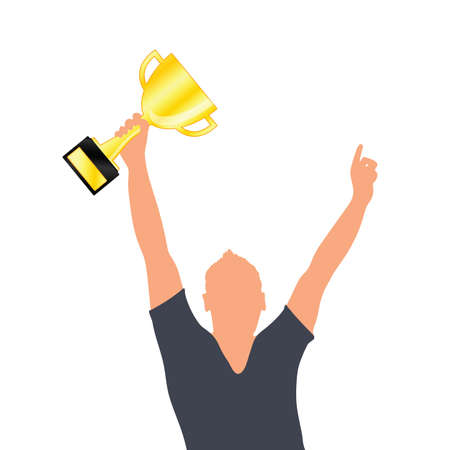 man with gold trophy cup in hand illustration