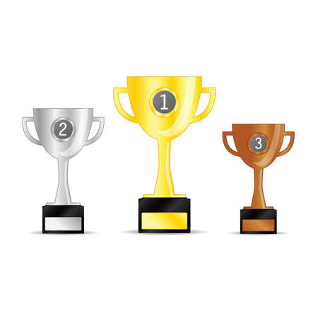 gold and silver and bronze trophy cup with a black stand Standard-Bild - 126065428