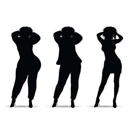 fat and slim woman three silhouette on white Иллюстрация