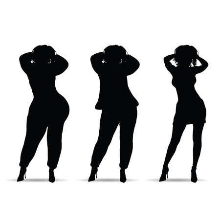 fat and slim woman three silhouette on white Illustration