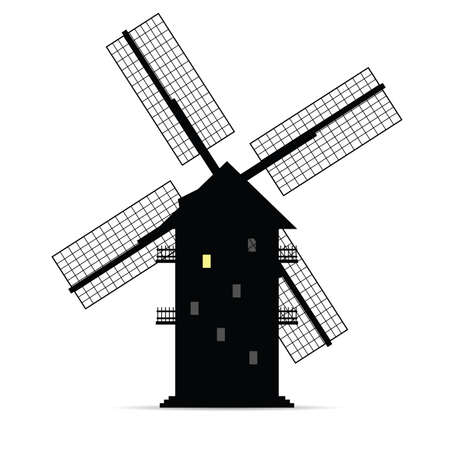 windmill vector silhouette with window light one