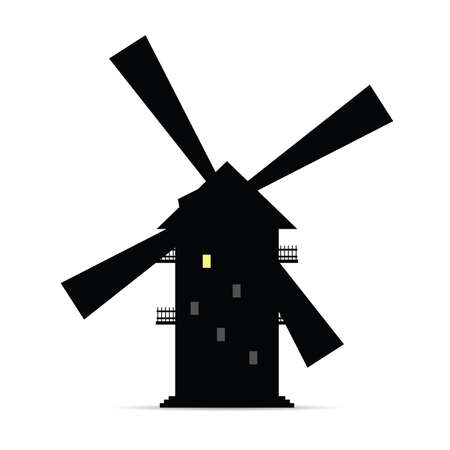 windmill vector silhouette with window light two Illustration