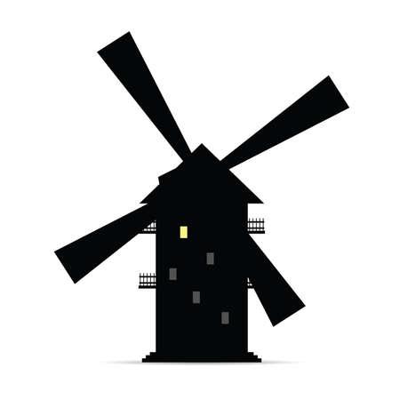 windmill vector silhouette with window light two Illusztráció