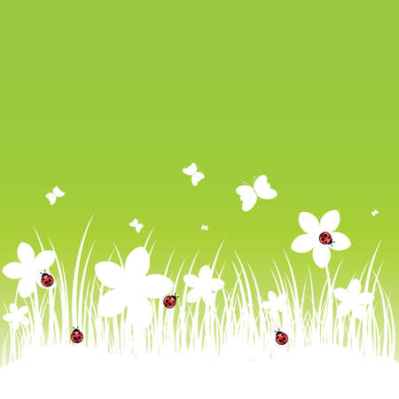 flower with ladybug and butterfly on green background