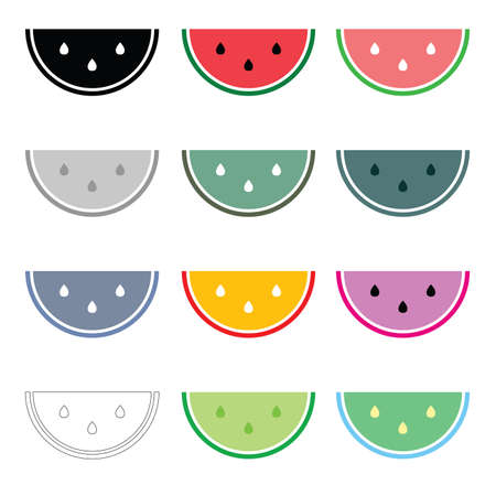watermelon vector icon set with colors on white Illustration
