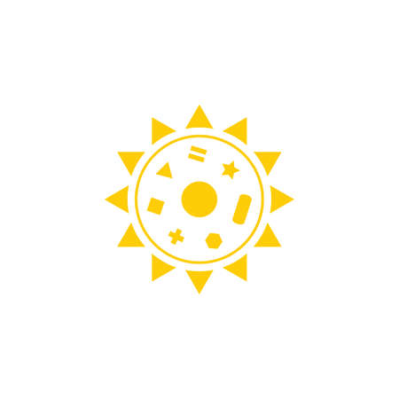 sun with symbols vector on white background