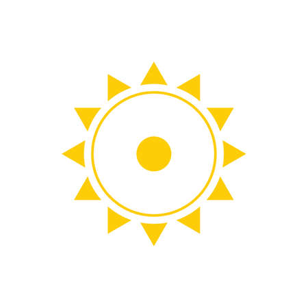 sun sign in yellow color vector illustration on white