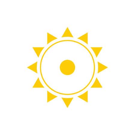sun sign in yellow color vector illustration on white Standard-Bild - 125275895