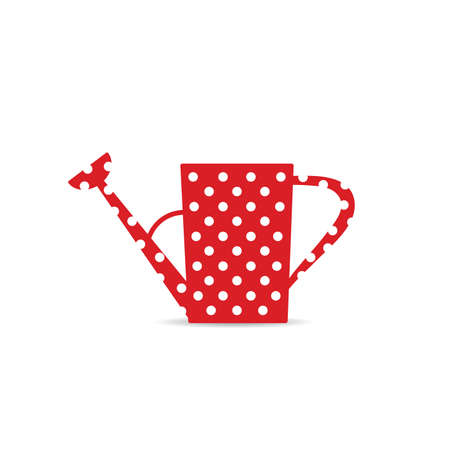 watering can icon in red with white circles vector